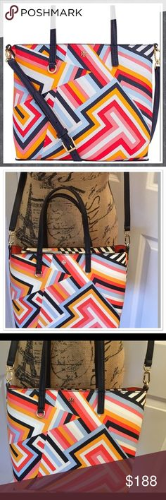 """HP Tory Burch Kerrington Sm Square Tote Cut Out T This is a brand new with tags Tory Burch Kerrington Small Square Tote.  Cut Out T Print.  Measures about 10""""H x 13""""W x 4.3""""D.  Strap drop is about 6.5"""", and the drop on the removable crossbody strap is about 23"""".  PVC with leather trim.  Gold hardware. Tory Burch Bags Totes"""
