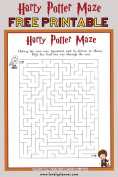 Harry Potter Maze - Free Printable Kids Activity Sheet, DIY and Crafts, Free printable Harry Potter Maze kids activity sheet. Also print out the matching crossword puzzle and HP characters word search.