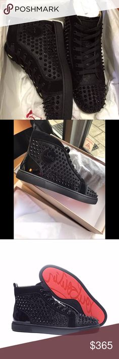 """Mens Orlato Flats Christian Louboutin """"Louis Orlato's"""" piping detail brings a refined touch to this beloved red sole sneaker. In black glitter luminor, suede, patent and spikes, he gives your off-duty styles a special glimmer. Christian Louboutin Shoes Sneakers"""
