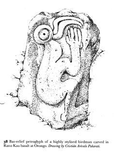 Birdman. Orongo petroglyph. Rapa Nui, Easter Island, Chile
