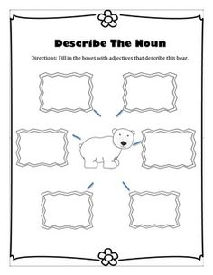 Adjective Activity.  Describe the polar bear.  Easy to differentiate.  Write only an adjective or write a sentence and underline the adjective in it.  Are you teaching arctic animals this week?