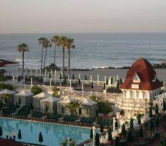 The beach and pool at the Hotel del Coronado