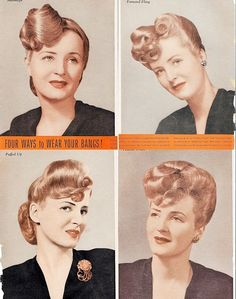 Vintage 1946 Beauty Salon Four Ways To Wear Bangs Hair Style Posters February 1940s Up Do