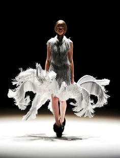 Dress from Dutch designer Iris van Herpen. Merging 3-D printer technology with high-end fashion. Something from the future?.