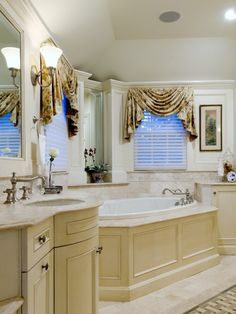 Traditional Bathroom Corner Tubs Design, Pictures, Remodel, Decor and Ideas - page 4 Window Swags, New Bathroom Ideas, Bath Ideas, Diy Ideas, Corner Tub, Tub Surround, Dream Bathrooms, Traditional Bathroom, Bath Remodel