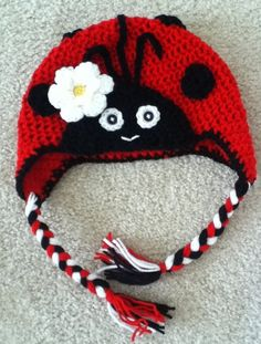 Crochet Ladybug Baby Hat Beanie Infant Toddler Girl Photo Prop Made to Order. $23.00, via Etsy.