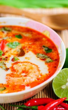 Spicy Thai Shrimp Soup, for change up add some coconut milk for creamier Thai soup, and I love bamboo shoots, tofu and celery in mine.