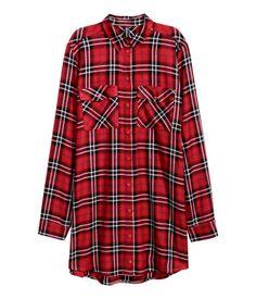 Lange Bluse   Rot/Kariert   Damen   H&M DE