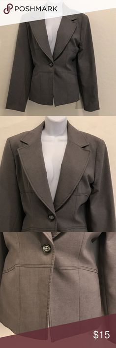 Gray Career Blazer Excellent Condition, Single Breast, Button Down Front, Shoulder Pads, Lined, 2 Buttons on Long Sleeve, Black Trim, Nice. Jackets & Coats Blazers