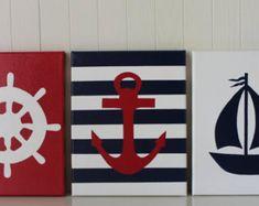 Pintura de decoración de guardería náutica rueda anclaje