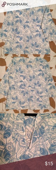 Printed cotton tunic Printed cotton tunic. 100% light cotton tunic. A bit of gathering on back midsection of top. Very comfortable. Quest Tops Tunics