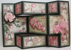 Tattered Lace Dies: Parisian shutter card by Brenda Tri Fold Cards, Fancy Fold Cards, Folded Cards, Hand Made Greeting Cards, Greeting Cards Handmade, Trifold Shutter Cards, Tattered Lace Cards, Origami, Step Cards