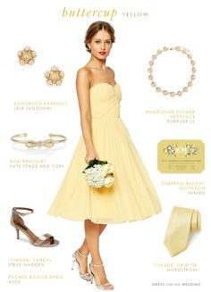 Strapless yellow bridesmaid dress is the perfect bright style for a spring or summer wedding party!