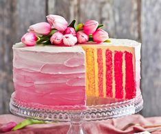 Rose pink vertical stripe cake recipe   Food To Love