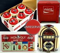 Take a walk down memory lane with this historic collection of memorabilia‼️ This online auction includes vending machines, train sets, yo-yos, model racing cars and all other vintage Coca Cola merchandise Coca Cola Merchandise, Under The Hammer, Vending Machines, Coco, Auction, Racing, Antiques, Model, Collection