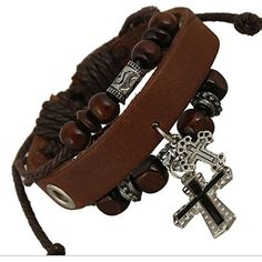 * Penny Deals * - TEMEGO Jewelry Mens Womens Genuine Leather Wrap Bracelet, Vintage Gothic Cross Beads Charm Cuff Bracelet, Adjustable Fits 7-12 inch, dark coffee >>> Be sure to check out this awesome product.