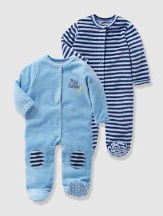 Lot de 2 pyjamas bébé en velours Jean grisé - vertbaudet enfant