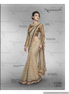 Nakkashi Exclusive golden Coloured Fancy Designer Saree
