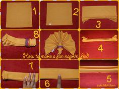 How to make a Napkin Fan Fold Napkin Folding, Step By Step Instructions, Creative, Wedding Ideas, Fun, How To Make, Tips, Folding Napkins, Wedding Ceremony Ideas