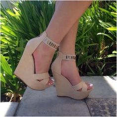 Beige Open Toe Rhinestone Ankle Strap Wedges Faux Leather $30.99