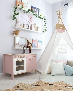 Pretty pink play kitchen from ikea | white teepee