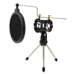 [USD4.27] [EUR3.86] [GBP3.07] Universal Adjustable Desktop Mini Microphone Tripod Stand with Windscreen Cover for Diameter 21-35cm Microphone