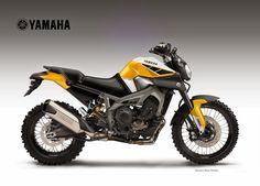 Yamaha Triple Cross Over Concept by Oberdan Bezzi - Asphalt & Rubber Tracker Motorcycle, Scrambler Motorcycle, Motorcycle Design, Fz Bike, Motorcycle Adventure, Bike Design, Bobber, Ducati Pantah, Ducati Supersport