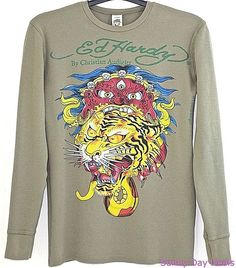 Ed Hardy Christian Audigier Thermal Cotton Graphic Tiger Skull Gothic Green M…