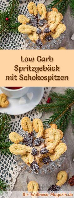 Low-Carb-Weihnachtsgebäck-Rezept für Spritzgebäck mit Schokospitzen: Kohlenhydratarme, kalorienreduzierte Weihnachtskekse - ohne Getreidemehl und Zucker gebacken ... #lowcarb #backen #weihnachten