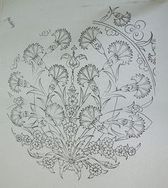 Jacobean Embroidery, Hand Embroidery Patterns, Floral Embroidery, Embroidery Stitches, Embroidery Designs, Turkish Pattern, Floral Patches, Turkish Art, Filigree Design