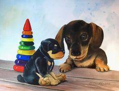 Image (peinture) : Deux chiots. Auteur Valentina Valevskaya