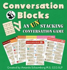 Conversation Blocks an UN-stacking Game7 fun types of mats to get your students talking! 20 different mats! I designed these mats to use in speech therapy sessions to encourage communication and carry over skills. These mats are perfect for:  Getting to know you activities Carry over for articulation, language, and fluency Social skills Counseling groups or sessions Small groups in the classroom Also great for family get-togethers!