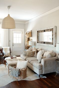 neutral living room with tons of texture