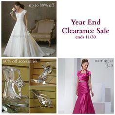 Year End Clearance Sale   $99 Wedding Gowns   $49 Formals   60% off Formal Accessories   30% off Bridal Accessories   Simply Elegant   Fort Mill SC   simplyelegantforyou.com