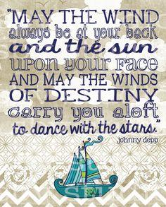 Nautical Digital Print  Johnny Depp Quote by southernbellavita, $20.00