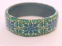 """Green and blue """"William Morris"""" bangle. Beautiful one-of-a-kind bracelet by DoodlePippin"""