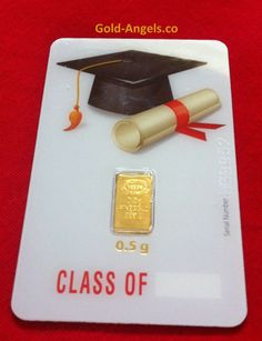 GRADUATION GIFT OF PURE GOLD - CLASS OF 2014 0.5 GRAM 999.9 GRADUATION CLASS OF- 24K FINE GOLD BULLION BAR $31 incl shipping USA. Can deliver to other countries + shipping fee. #GraduationGift #GoldGraduationBar #ClassOf2014 #GraduateGoldGift