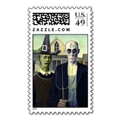 American Gothic Vampire and Witch Stamp