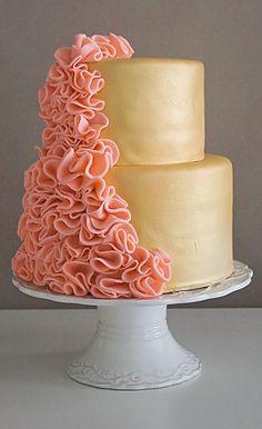 Pink Peach ruffle Cake design with gold fondant Pretty Cakes, Beautiful Cakes, Amazing Cakes, Peach Cake, Ruffle Cake, Fondant Ruffles, Cake Fondant, Gold Cake, Silver Cake