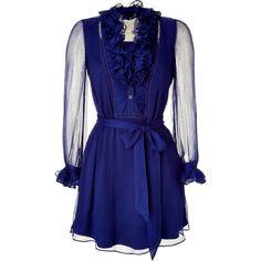 CATHERINE MALANDRINO Peacock Silk Chiffon Ruffle Dress ($451) ❤ liked on Polyvore