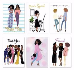 """Boxed Greeting Cards (Set of 6) - """"Girlfriends Series"""" Greeting Card Box, Sweet Messages, Afro Art, Unique Cards, Life Moments, Encouragement, Picture Design, Personal Photo, Romance"""