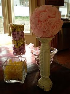 crepe paper ball; baby shower decor