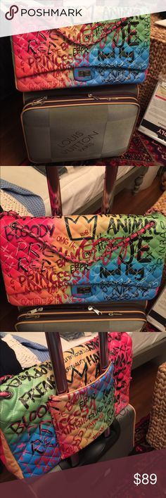 """Super cute graffiti travel bag Very cute and unique travel carry on bag for your wheeled luggage. About 17"""" length. Price is firm as it is new and therefore never been used! Bags Travel Bags"""