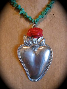 Huge  Ex Voto SACRED HEART Frida Bamboo Coral by mariposafuerte, $54.00