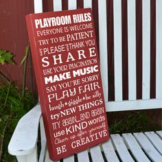 Playroom Rules painted wood sign