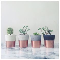 Copper dipped small cement pots / planters or candle holders for cactus, succulents or candles in black, white or grey porcelain concrete Handmade Home, Cactus Plante, Concrete Pots, Copper Kitchen, Copper Room, Copper Decor, Kitchen Tiles, Kitchen Decor, Home Decor Shops
