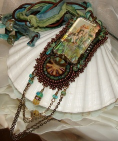 Victorian Mermaid bead embroidery necklace by pameliadesigns, $225.00