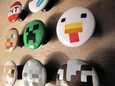 Boys Minecraft Bedroom, Minecraft Room, Boy Dresser, Dresser Knobs, Pebble Painting, Stone Painting, Painting Minecraft, Andys Room, Painted Rocks