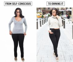 Stop pulling your shirt down over your hips. - Pulling your top down like that draws a line right across the widest part of your body and makes you look larger than you really are. It can also cause unfortunate muffin-topping on even the most toned of bodies. Instead, go for a cropped sweater to bring the attention up towards your waist and get yourself some high-rise jeans to help shape and cover you from the waist down.