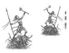 Androgeus in a concept sketch of Sandy Petersen's Glorantha: The Gods War.  Androgeus concept art